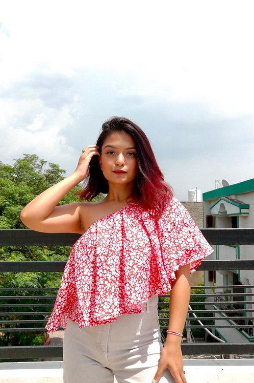 Scarlet Asymmetrical Top