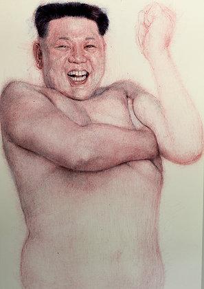 Kim Jong-Un haciendo Juche con el sobaco