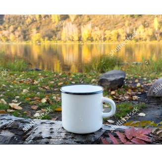 White campfire enamel mug mockup with red viburnum leaf