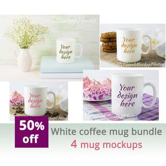 White coffee mug bundle