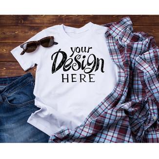 White men's cotton T-shirt mockup