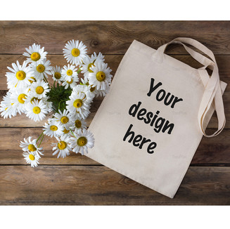 Rustic tote bag mockup with daisy