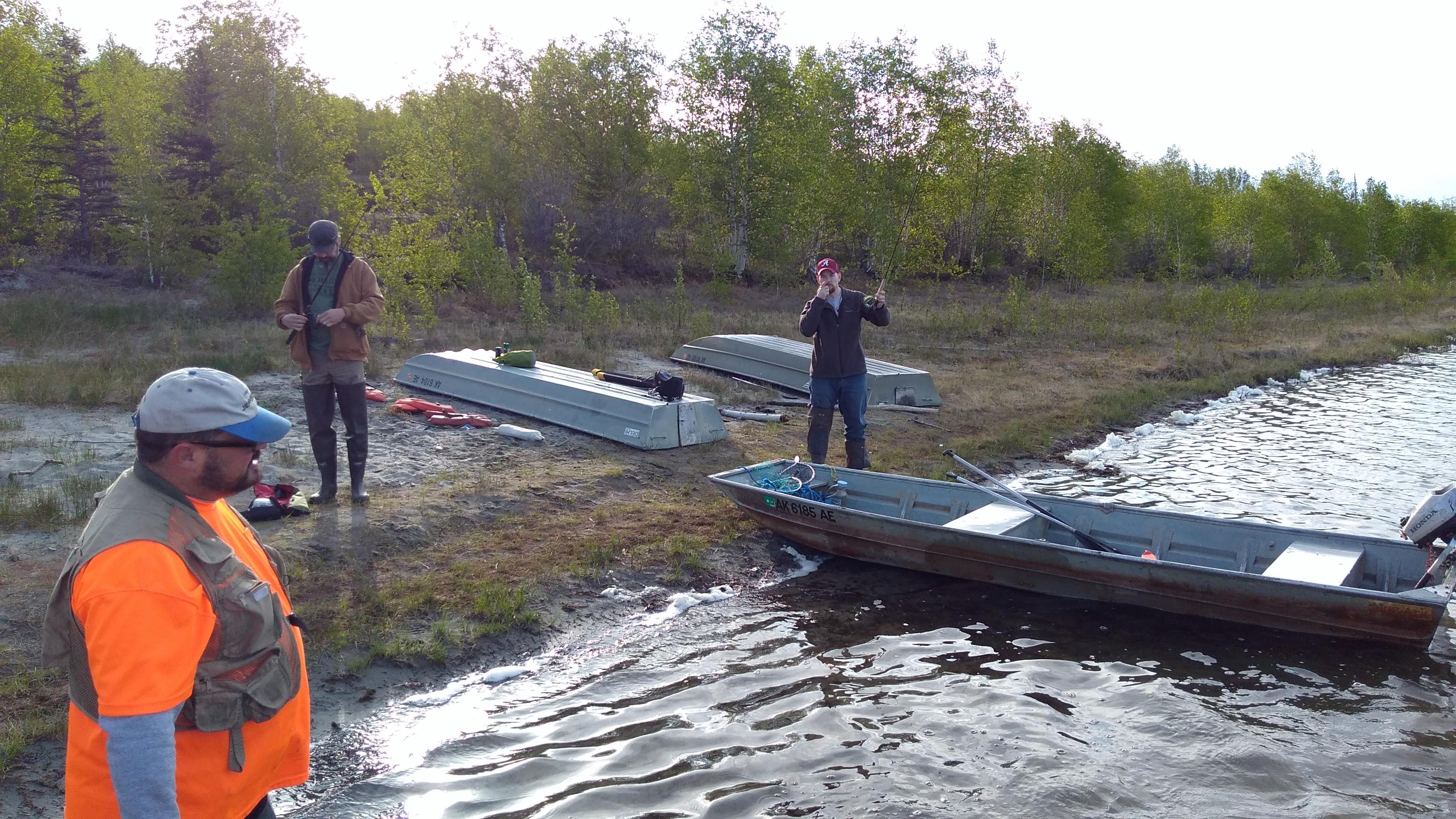 Preparing to fish at Dune Lake
