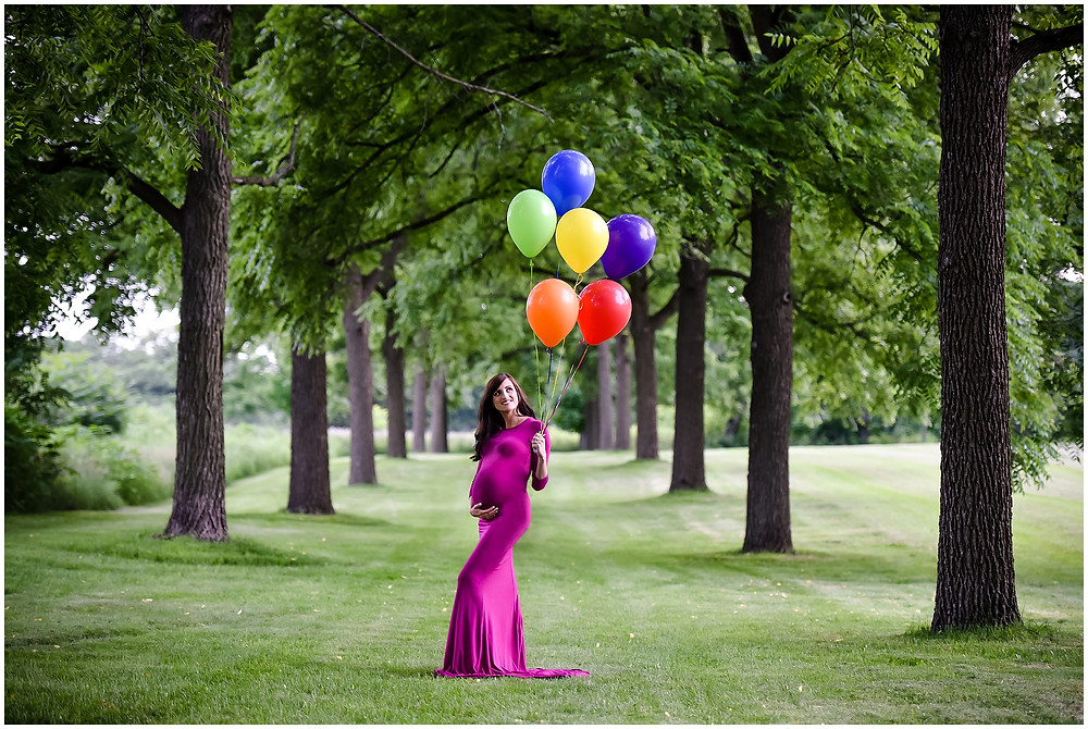 Rainbow Maternity Photos, Lindsay Chan Photography, Naperville Maternity Photographer, Rainbow Balloon Maternity Photos