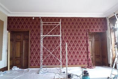 chateau, tissus tendus,tapissier jerome haduin