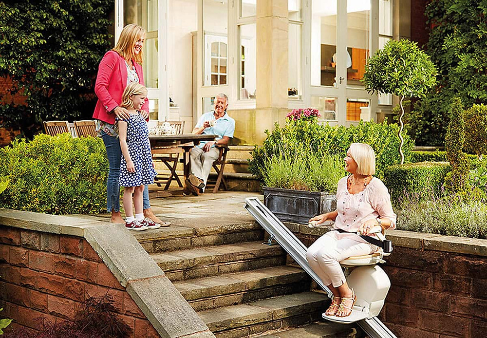 outdoor stairlift on the patio