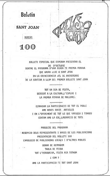 Boletín Sant Joan 100 1980 Mallorca