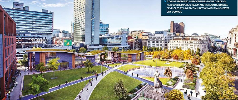 Urban Edge plan showing pavilion with green Sedum roof