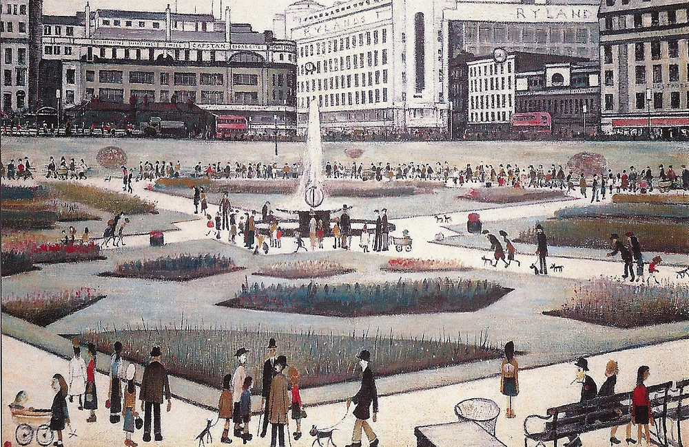 Piccadilly Gardens painted by L S Lowry 1954