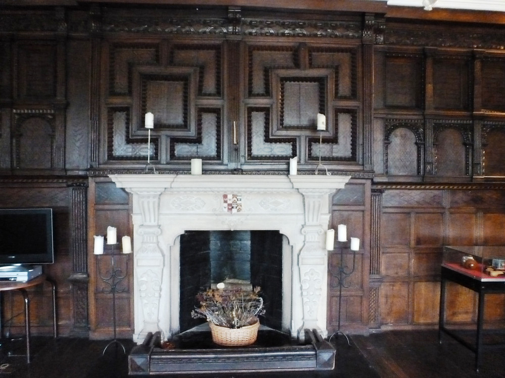Fire-place and panelling prior to fire
