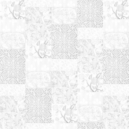 Almost White Arts & Crafts Patchwork Wallpaper