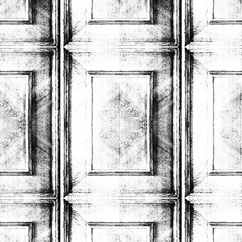 Almost White Dutch Inlay Panelling Wallpaper