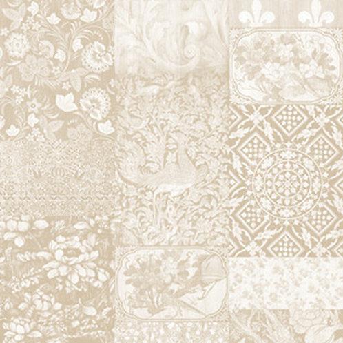 Arts & Crafts Patchwork Wallpaper Beige