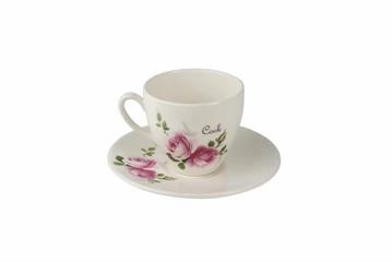 Cock Tea Cup & Saucer - pink florals