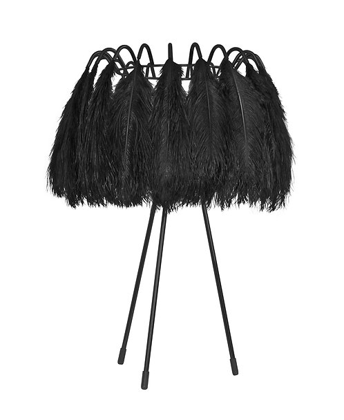 Ostrich Feather Table Lamp in Black
