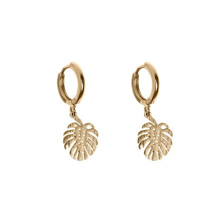 Monstera Small Hoop Earrings Gold