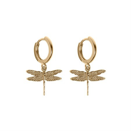 Dragon Fly Small Hoop Earrings Gold/Silver