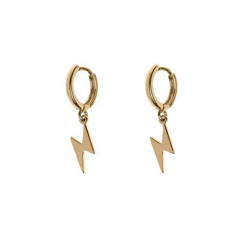 Lightning Small Hoop Earrings Gold
