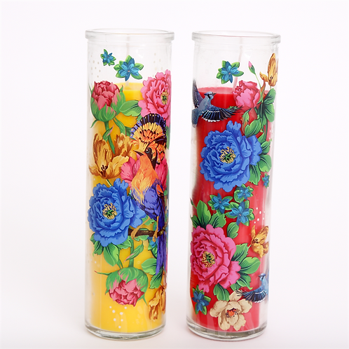 20cm Mexican Floral Pillar Candle Pot