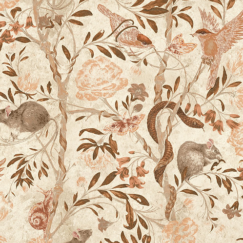 Back to Nature Parchment Wallpaper