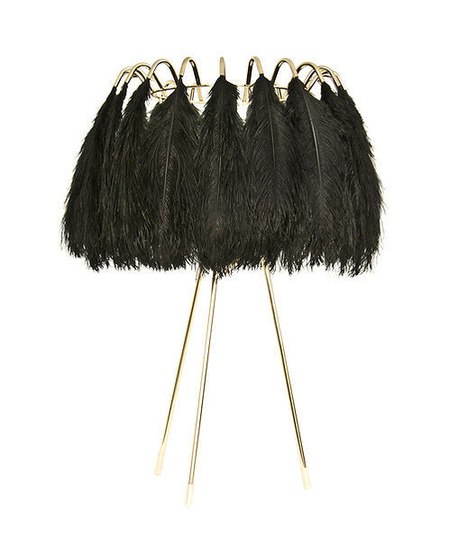 Ostrich Feather Table Lamp Black