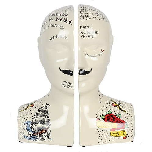 Phrenology Tattoo Bookend