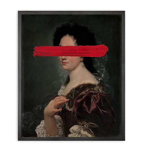 Red Mark Framed Printed Canvas