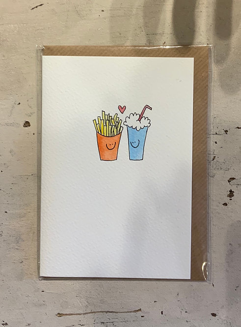 Chips - card hand drawn by Hannah Shelbourne
