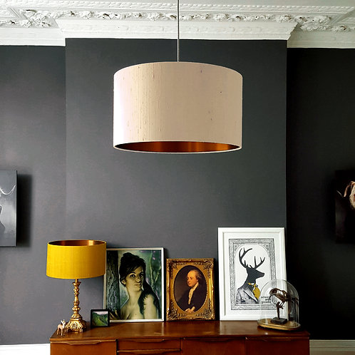 Indian Silk Lampshade in Pebble with Brushed Copper Lining