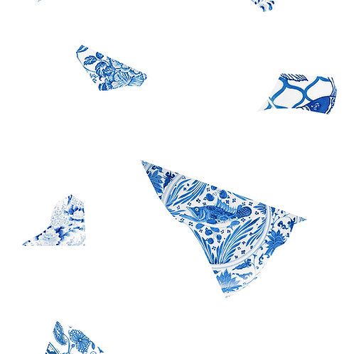 White & Blue Plate fragment Wallpaper