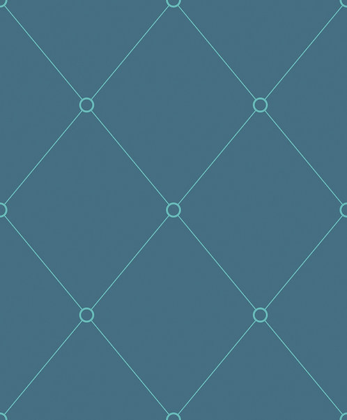 Petroleum & Aquamarine Quilt Outline Wallpaper
