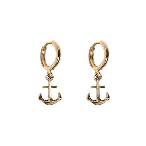 Anchor Small Hoop Earrings Gold