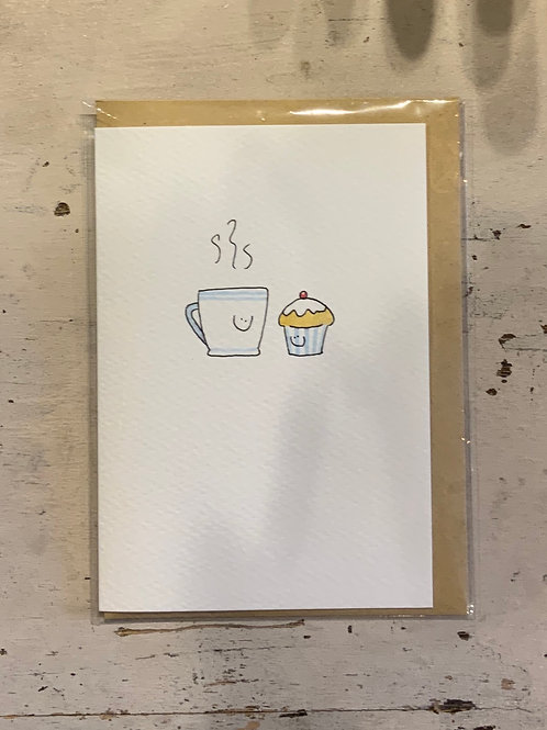 Cuppa - card hand drawn by Hannah Shelbourne