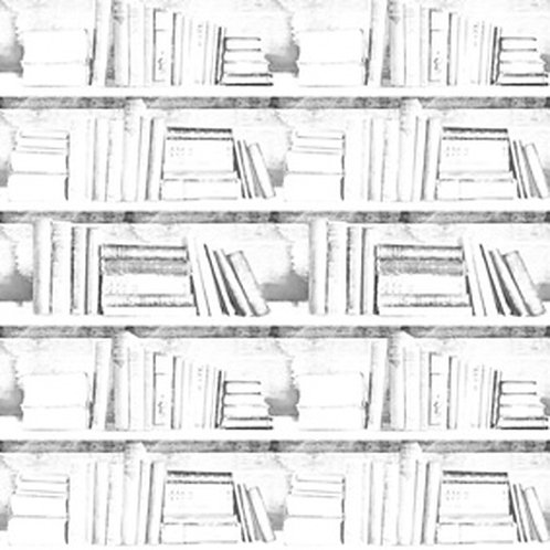 Almost White Photocopy Bookshelf Wallpaper