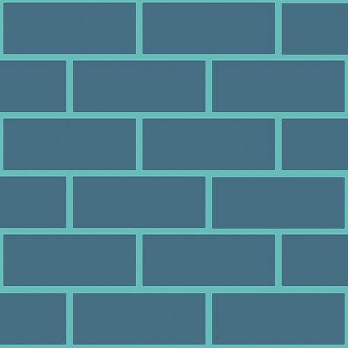 Petroleum & Aquamarine Brick Outline Wallpaper