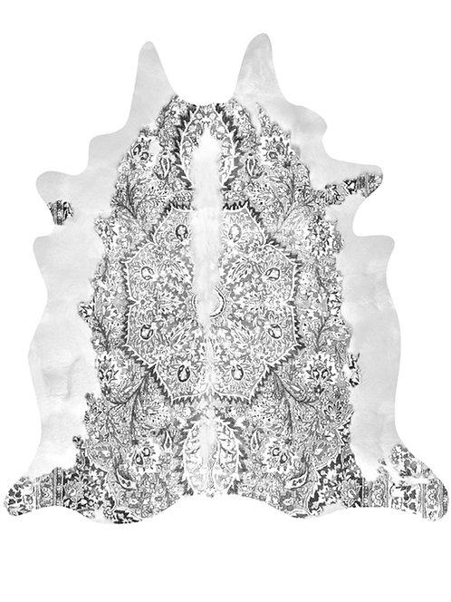 Grey Persian Cowhide Rug
