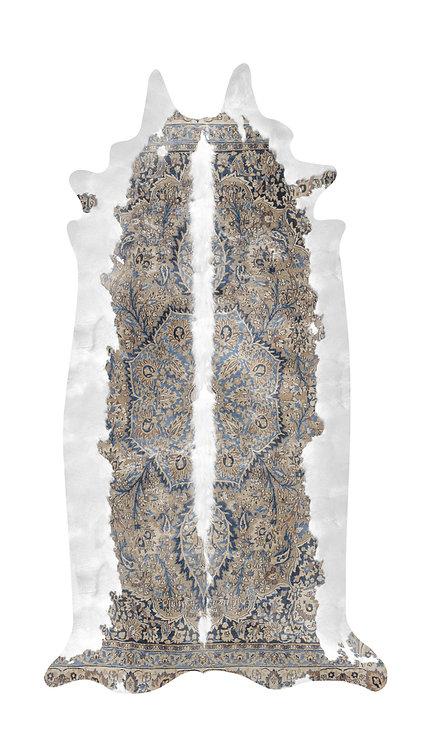 Super Long Blue & Brown Persian Cowhide Rug