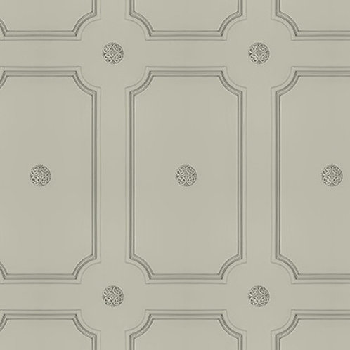 French Grey Georgian Dot Panelling Wallpaper