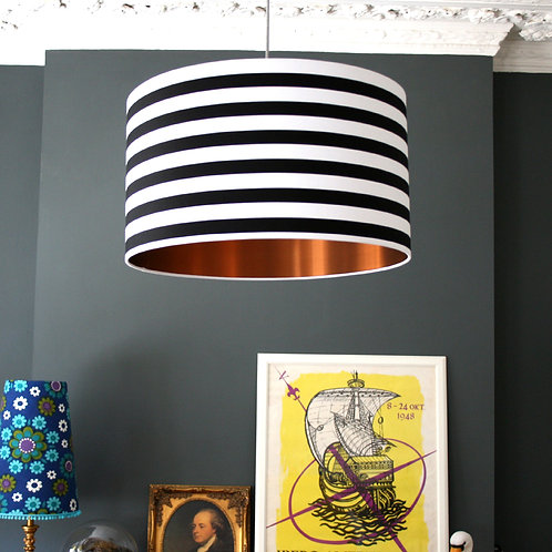 Circus Stripes Monochrome Lampshade With Brushed Copper Lining