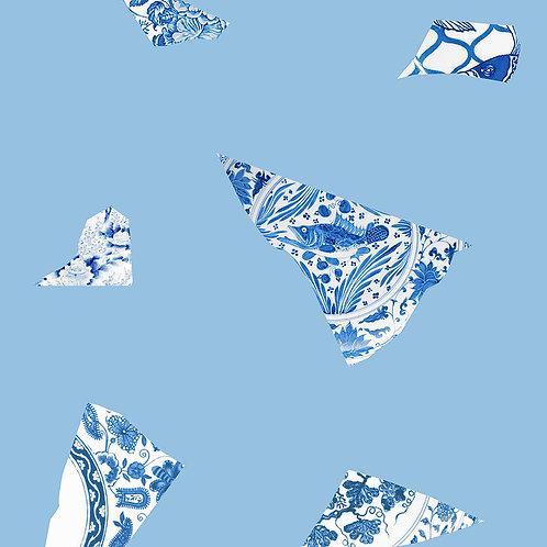 Blue Plate Fragment Wallpaper