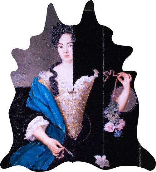 Faux Cow Hide Rug with printed lady