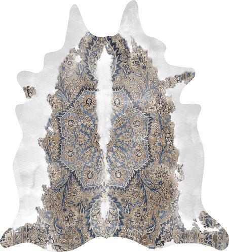 Blue & Brown Persian Cowhide Rug