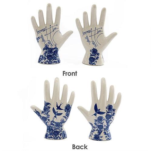 Blue Floral Palmistry Hand Ornament