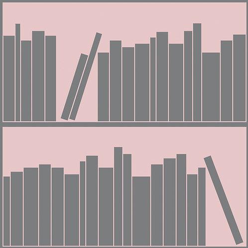 Pink & Grey Outline Bookshelf Wallpaper