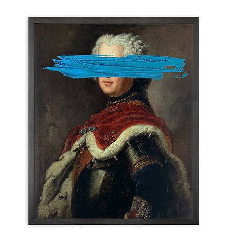 'Blue Mark' Framed Printed Canvas