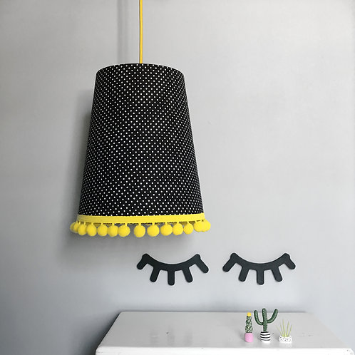 Pom Pom Lampshade in Jet Black Pin Dots