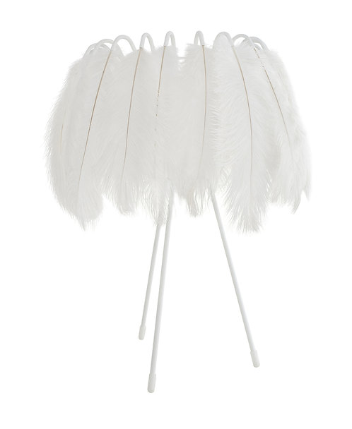 Ostrich Feather Table Lamp in White