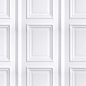 White Panelling Wallpaper