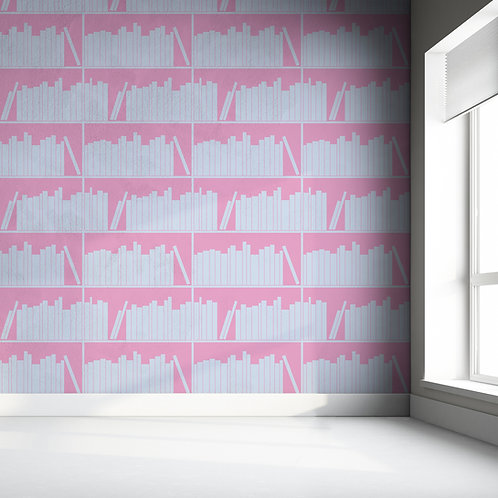 Blue & Pink outline bookshelf Wallpaper