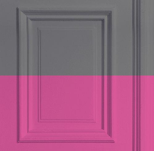 Grey/Rose Panelling Wallpaper